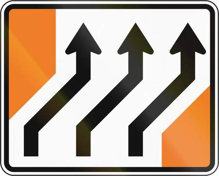 lanes: New Zealand road sign - Lanes shift to right.