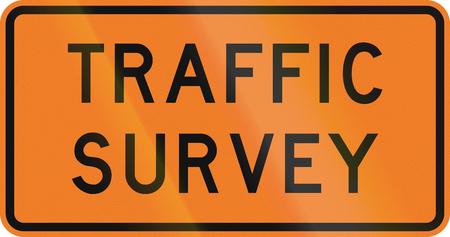 surveying: New Zealand road sign - Traffic survey ahead. Stock Photo