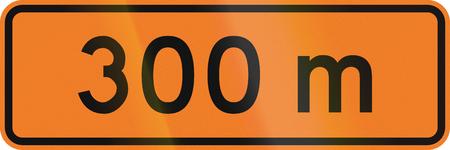metres: New Zealand road sign - 300 metres ahead. Stock Photo