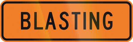 blasting: New Zealand temporary road sign - Blasting.