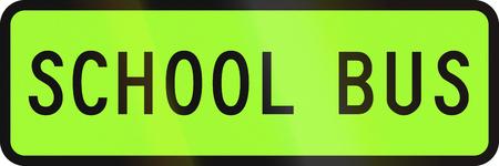 designated: New Zealand road sign - Designated school bus. Stock Photo