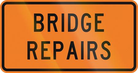 repairs: New Zealand road sign - Bridge repairs being done.