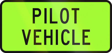 convoy: New Zealand road sign - Pilot vehicle for an over-dimension convoy.