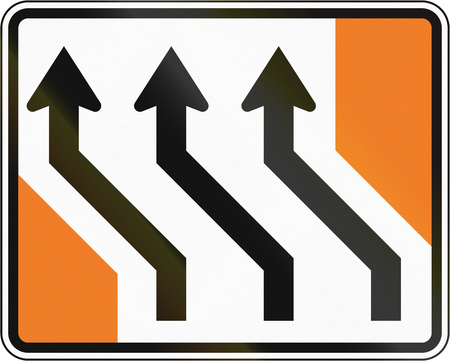 shift: New Zealand road sign - Lanes shift to left.