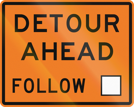 detour: New Zealand road sign - Detour ahead, follow square symbol.