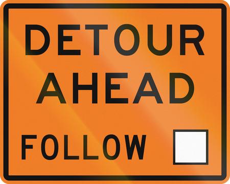 diversion: New Zealand road sign - Detour ahead, follow square symbol.