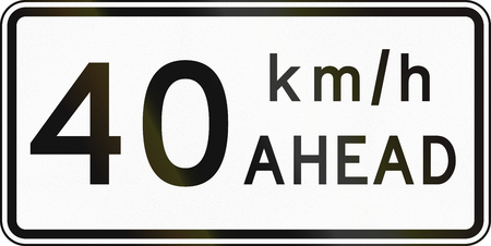 kmh: New Zealand road sign - Road works speed limit ahead, 40 kmh. Stock Photo