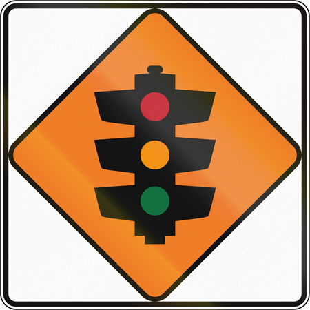 on temporary: New Zealand road sign - Temporary traffic signals ahead.