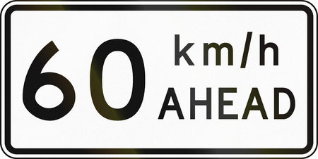 speed limit: New Zealand road sign - Road works speed limit ahead, 60 kmh.