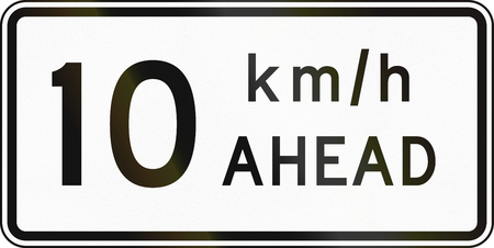 road ahead: New Zealand road sign - Road works speed limit ahead, 10 kmh. Stock Photo