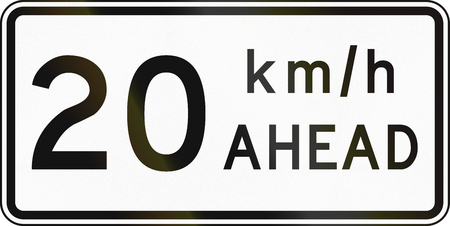 kmh: New Zealand road sign - Road works speed limit ahead, 20 kmh. Stock Photo