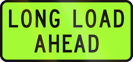 transporting: New Zealand road sign - Over-dimension vehicle transporting a extra long load ahead.