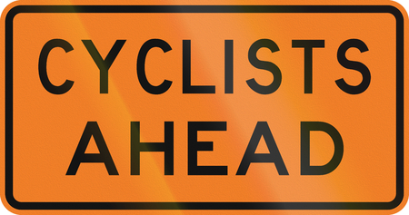 new zealand word: New Zealand road sign - Cyclists ahead.