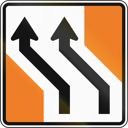 lanes: New Zealand road sign - Lanes shift to left.