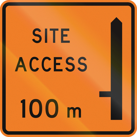 road works ahead: New Zealand road sign - Works site access 100 metres ahead on left.