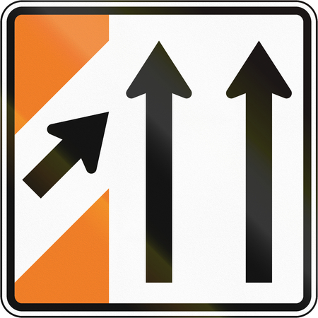 merging: New Zealand road sign - Merging traffic (sign for major road).