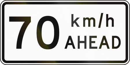 kmh: New Zealand road sign - Road works speed limit ahead, 70 kmh.
