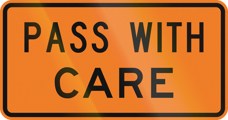 overtaking: New Zealand road sign - Pass this vehicle with care. Stock Photo