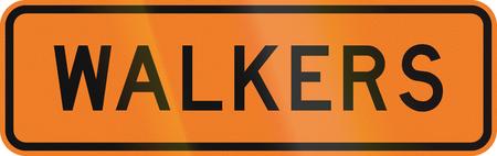 new zealand word: New Zealand road sign - Walkers ahead.