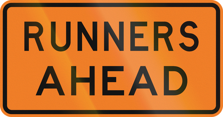 new zealand word: New Zealand road sign - Runners ahead.