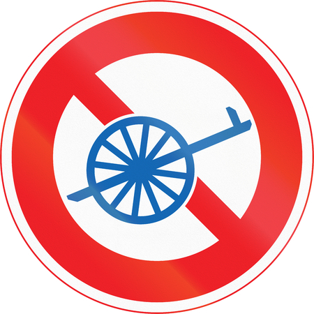 thoroughfare: Japanese road sign - No Thoroughfare for Handcarts.