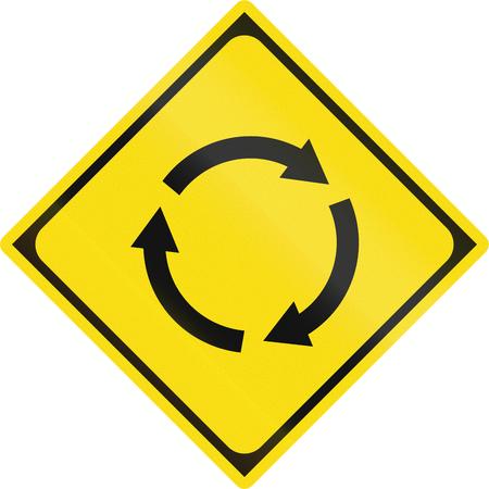 roundabout: Japanese road warning sign roundabout or traffic circle. Stock Photo