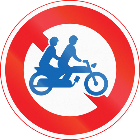 thoroughfare: Japanese road sign - No Thoroughfare for motorcycles for two persons. Stock Photo