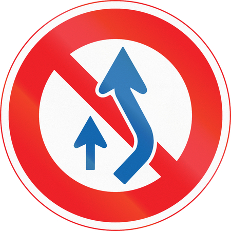 no overtaking: Japanese road sign - No Passing on the Right.