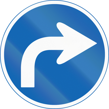 mandatory: Japanese road sign - Mandatory direction to be followed.