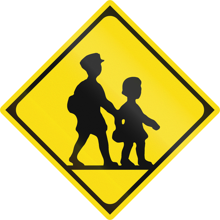 watch out: Japanese road sign - Watch out for children.