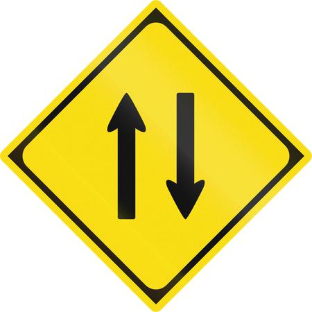 opposing: Japanese warning road sign - Two-way traffic.
