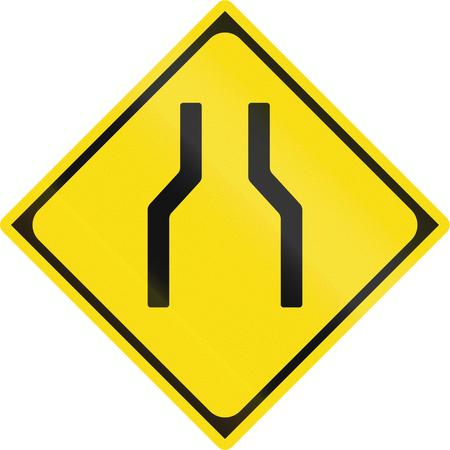 narrows: Japanese warning road sign - Road narrows.