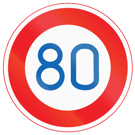 kmh: Japanese road sign - Maximum Speed Limit 80 kmh.