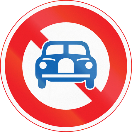 thoroughfare: Japanese road sign - No Thoroughfare for Vehicles except Motorcycles.