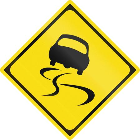 slippery warning sign: Japanese warning road sign - Slippery road.