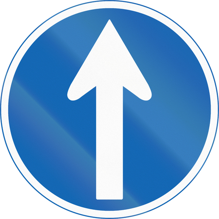 arrow sign: Japanese road sign - Mandatory direction to be followed.