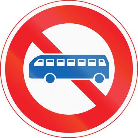 thoroughfare: Japanese road sign - No Thoroughfare for buses.