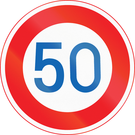 maximum: Japanese road sign - Maximum Speed Limit 50 kmh.
