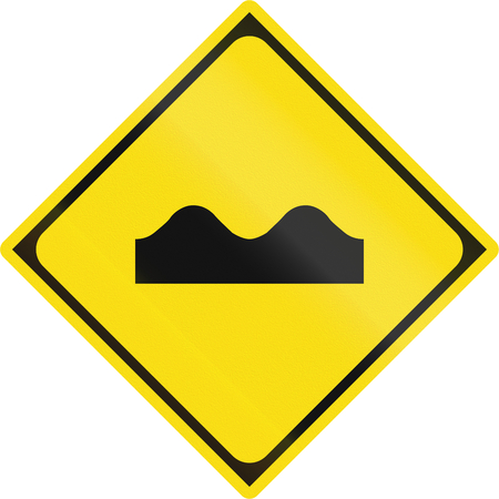 bumpy road: Japanese warning road sign - Bumpy road.