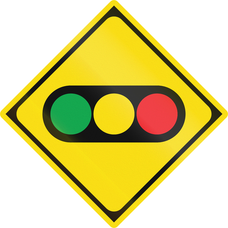 watch out: Japanese road sign - Watch out for traffic lights. Stock Photo