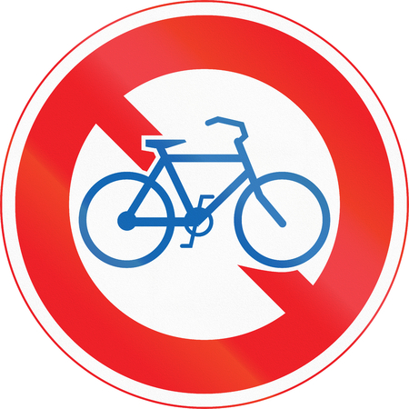 thoroughfare: Japanese road sign - No Thoroughfare for Bicycles.