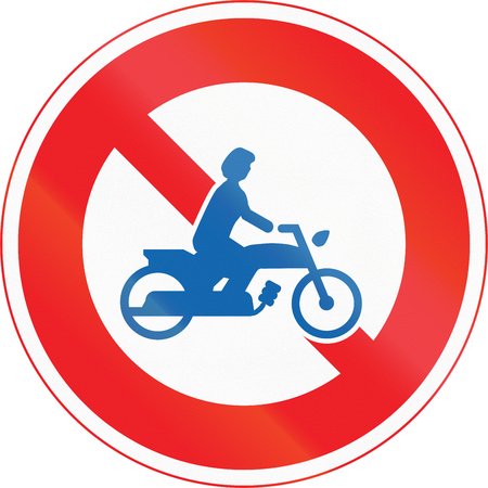 thoroughfare: Japanese road sign - No Thoroughfare for Motorcycles.