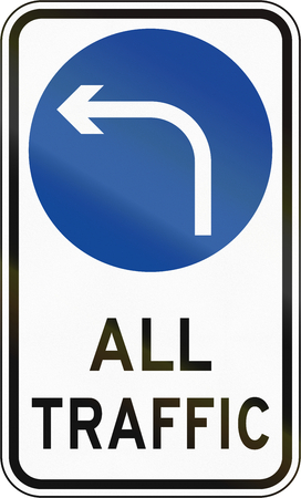turn left: Road sign in the Philippines - Direction To Be Followed - Turn Left Only.