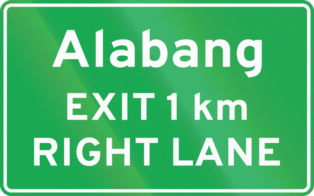 lane: Road sign in the Philippines - Advance Exit Sign (with distance and RIGHT LANE).