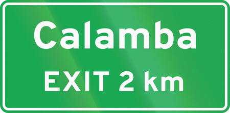 exit sign: Road sign in the Philippines - Advance Exit Sign (with distance). Stock Photo