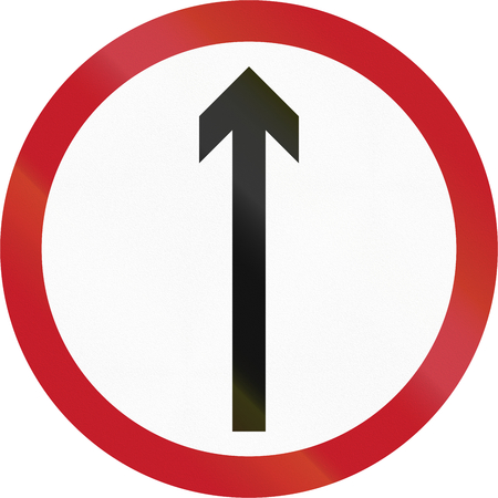 quadratic: Old version of road sign in the Philippines - Direction To Be Followed - Proceed Straight Only. Stock Photo