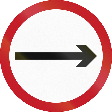 proceed: Old version of road sign in the Philippines - Direction To Be Followed - Proceed Right Only.