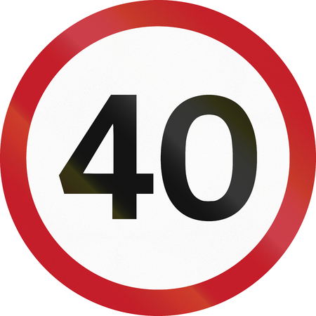Road sign in the Philippines - 40 kph speed limit sign in the Philippines.
