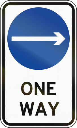 proceed: Road sign in the Philippines - Direction To Be Followed - Proceed Right Only On One Way Street.