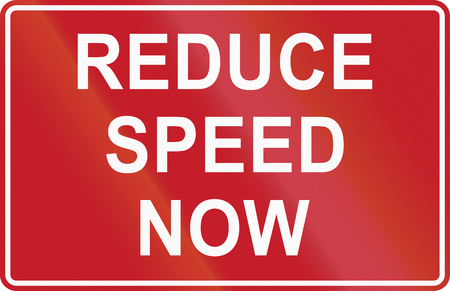 reduce: Road sign in the Philippines - Reduce Speed Now.